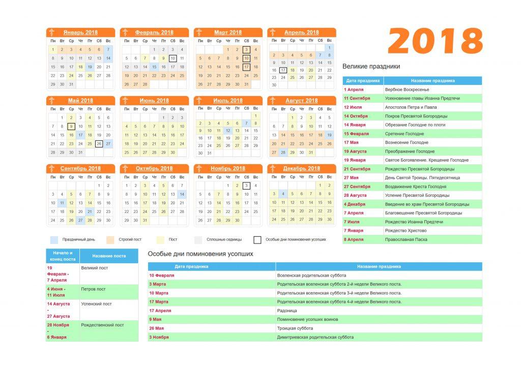 календарь православных праздников 2019